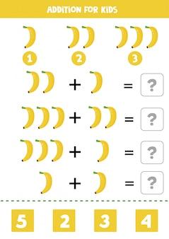 Adição com bananas dos desenhos animados. jogo de matemática para crianças