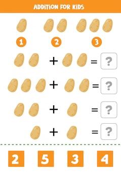 Adição com batata. resolva a equação. jogo de matemática para crianças.