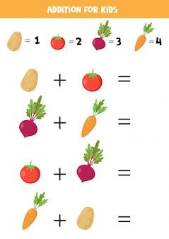 Adição com beterraba, cenoura, tomate e batata.
