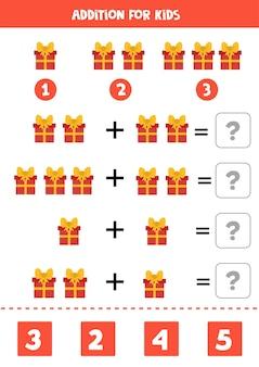 Adição com caixa de presente de natal de desenho animado. jogo de matemática para crianças. Vetor Premium