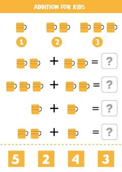 Adição com caneca de café. jogo educativo de matemática para crianças.