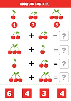 Adição com cerejas bonito dos desenhos animados. jogo de matemática.