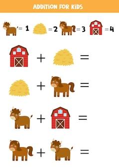 Adição com diferentes animais de fazenda. jogo educativo de matemática para crianças.