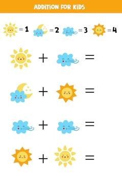 Adição com diferentes elementos climáticos. jogo educativo de matemática para crianças.