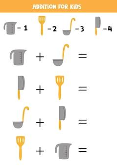 Adição com diferentes utensílios de cozinha. jogo educativo de matemática para crianças.