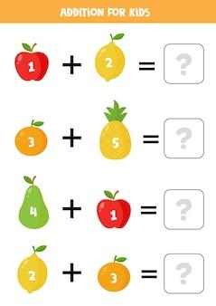 Adição com frutas coloridas fofas. jogo educativo de matemática para crianças.