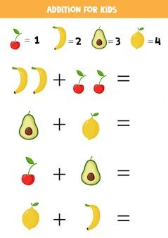 Adição com frutas diferentes. desenhos animados banana, cereja, limão, abacate.