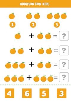 Adição com laranjas dos desenhos animados. jogo de matemática para crianças