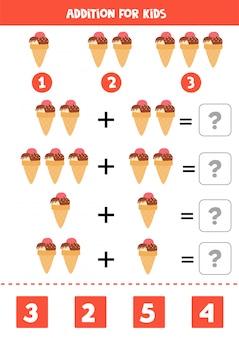 Adição com sorvete dos desenhos animados. jogo de matemática educacional para crianças. resolva as equações. educação em casa. página de atividade imprimível.