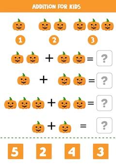 Adição para crianças com abóboras de halloween assustadoras.