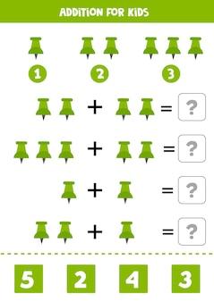 Adição para crianças com alfinete verde de desenho animado.