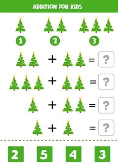 Adição para crianças com árvore de natal bonito dos desenhos animados. jogo educativo de matemática.