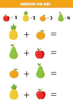 Adição para crianças com frutas coloridas bonito dos desenhos animados