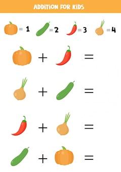 Adição para crianças com legumes dos desenhos animados. jogo de matemática para crianças.