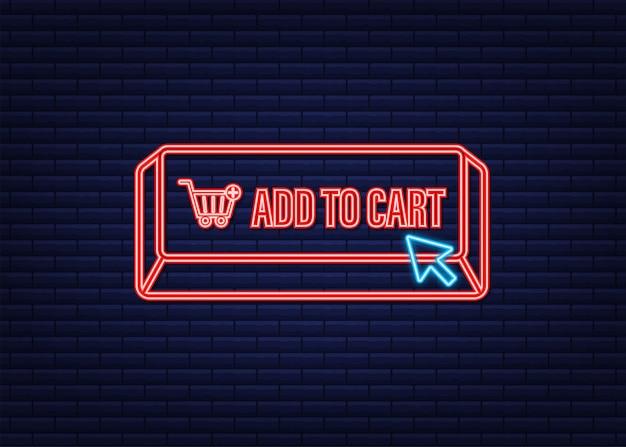 Adicionar ao ícone de néon do carrinho. ícone do carrinho de compras. ilustração em vetor das ações.