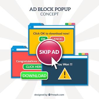Adicionar bloco pop up conceito com design plano