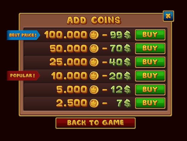 Adicionar interface de moedas para jogos
