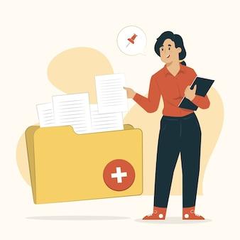Adicionar notas conceito de pasta com ilustração de documento