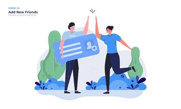 Adicionar nova ilustração de amigos para o conceito de rede social