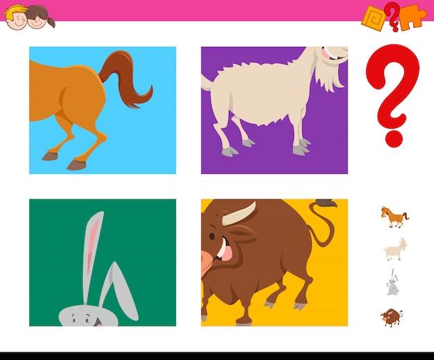 Adivinha tarefa de animais de fazenda dos desenhos animados para crianças