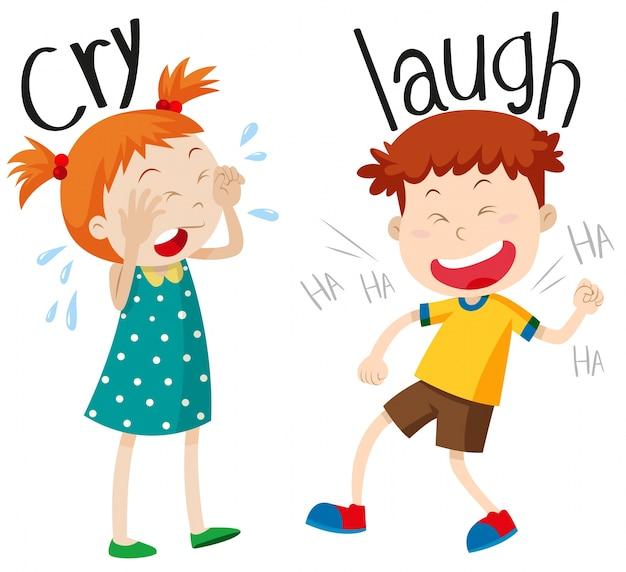 Adjectivos opostos choram e riem