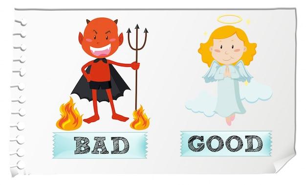 Adjetivos opostos com bons e maus