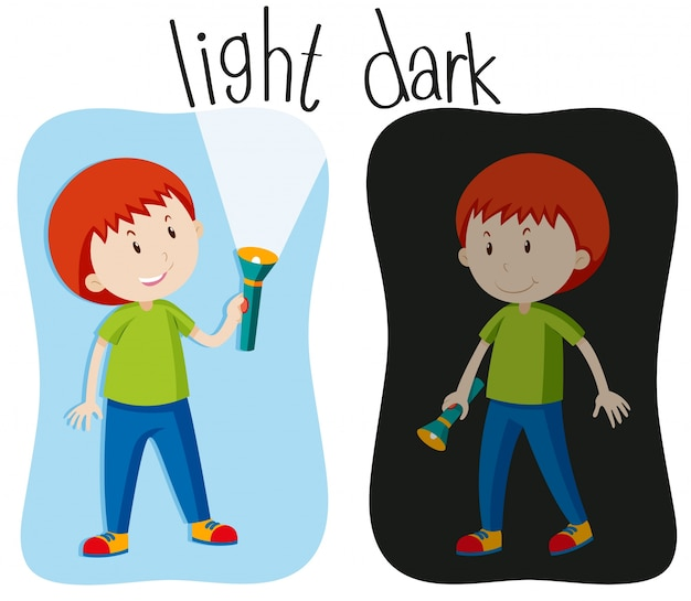 Adjetivos opostos com luz e escuridão