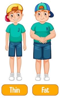 Adjetivos opostos com menino magro e menino gordo em fundo branco