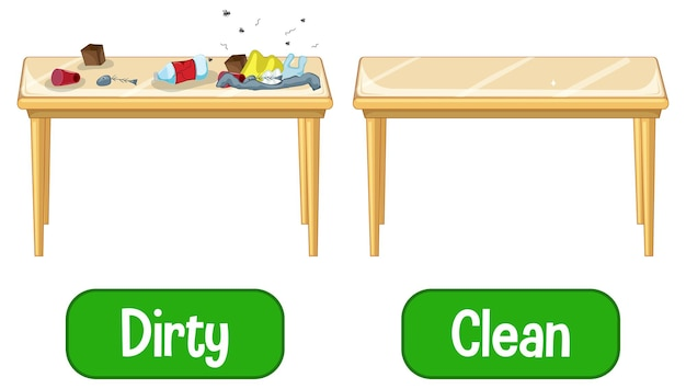 Adjetivos opostos com palavras sujas e limpas