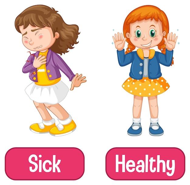 Adjetivos opostos palavras com doente e saudável