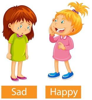 Adjetivos opostos palavras com feliz e triste