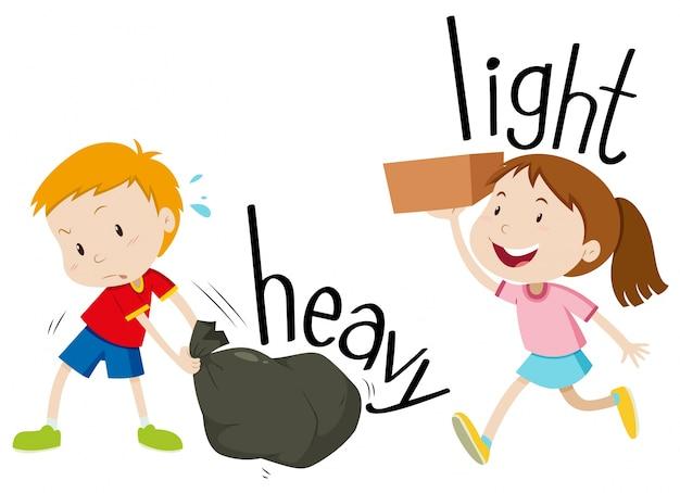 Adjetivos opostos pesados e leves