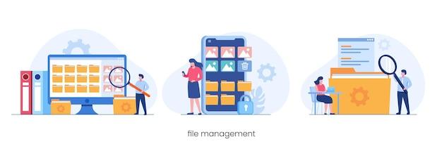 Administração de gerenciamento de arquivos, conceito de arquivamento de dados, vetor de ilustração plana