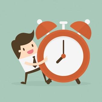 Administração do tempo com um empregado com despertador