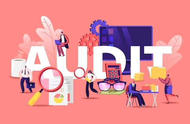 Administração financeira e conceito de auditoria. ilustração plana dos desenhos animados