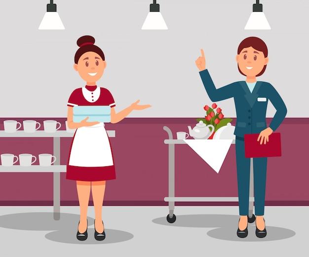 Administrador do hotel dando instruções para empregada. gerente em traje formal. jovem trabalhador segurando toalhas limpas. design plano