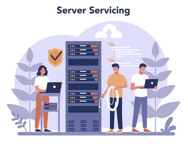 Administrador do sistema. pessoas trabalhando no computador e fazendo trabalho técnico com o servidor. configuração de sistemas e redes informáticas.