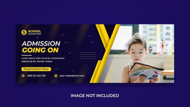 Admissão de crianças de volta à escola mídia social modelo de capa de linha do tempo do facebook e banner da web
