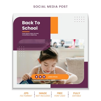 Admissão de volta às aulas de educação para modelo de banner de postagem de mídia social