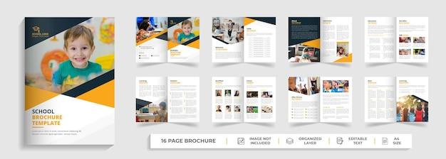 Admissão escolar, design de modelo de brochura bifold de 16 páginas