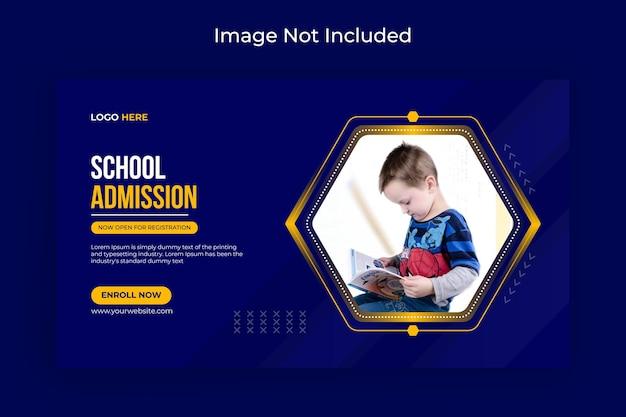 Admissão escolar mídia social e folheto de banner da web vetor premium de fotos de capa do facebook