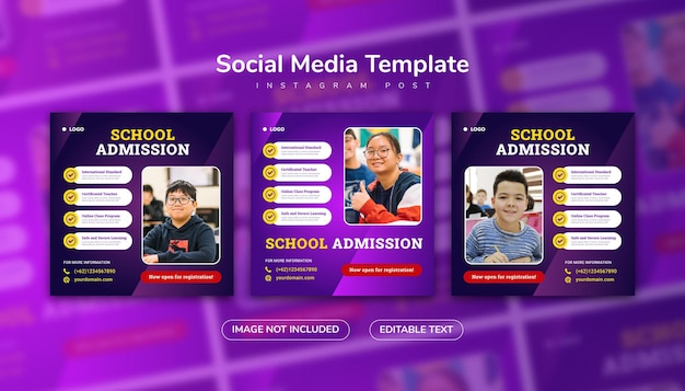 Admissão escolar postagem em mídia social e modelo de banner da web com gradiente de cor roxa