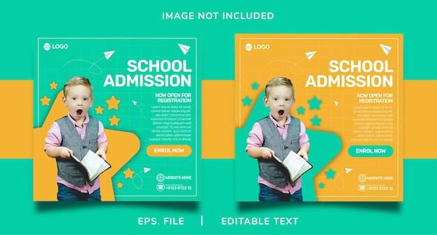 Admissão escolar promoção de mídia social e design de modelo de postagem de banner instagram