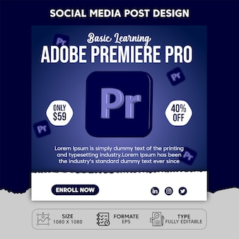 Adobe premiere pro learning social media post template design
