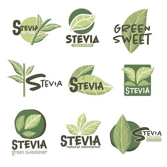 Adoçante orgânico natural para sobremesas e doces, emblemas isolados e rótulos de produtos com estévia