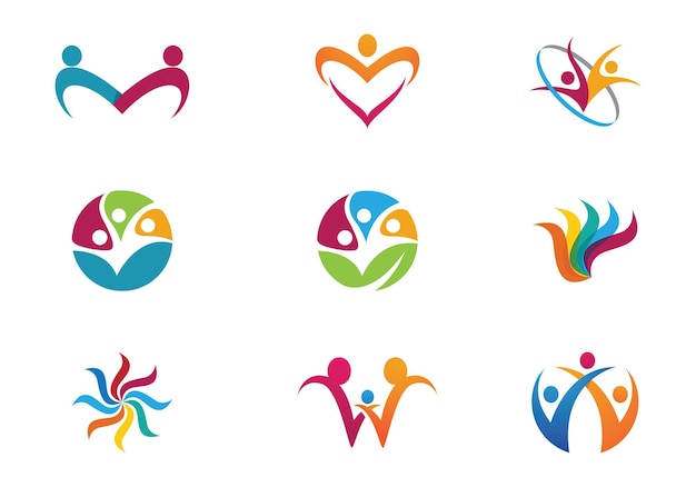 Adoção e cuidados comunitários ícone de vetor de modelo de logotipo
