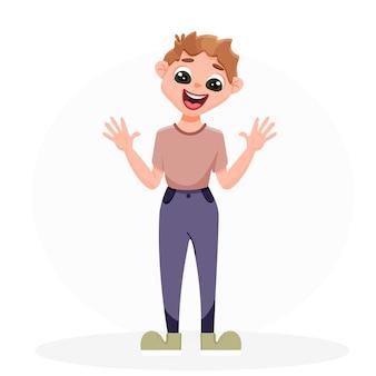 Adolescente acenando com as mãos