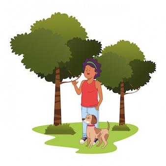 Adolescente, afroamerican, mulher caminhando, a, cão