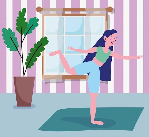 Adolescente alongamento yoga em esteira atividade esporte exercício em casa