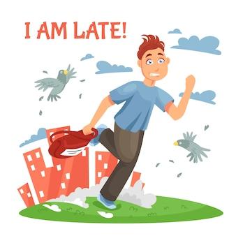 Adolescente atrasado correndo para a escola